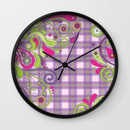 Paisley Plaid Wall Clock
