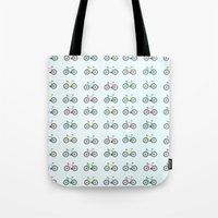 bicycles Tote Bags featuring Bicycles by amyhartdesign