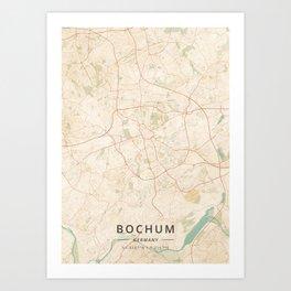 Bochum, Germany - Vintage Map Art Print