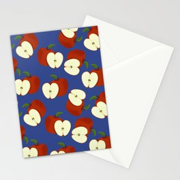 apples on blue Stationery Cards