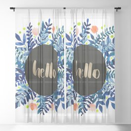 Hello flowers and branches - blue and orange Sheer Curtain