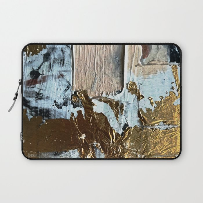 Compelling: a minimal, abstract mixed-media piece in gold, pink, black and white by Alyssa Hamilton Laptop Sleeve