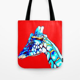 Colorful Giraffe Red (Left facing) Tote Bag