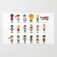 street fighter Area & Throw Rugs featuring Super Street Fighter II Turbo by Glimy