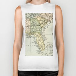 Vintage Map of the South Of The United States Of America Biker Tank