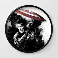 steve rogers Wall Clocks featuring Steve Rogers: Shadow Edition by NKlein Design