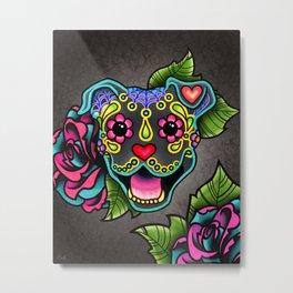 Smiling Pit Bull in Blue - Day of the Dead Pitbull Sugar Skull Metal Print