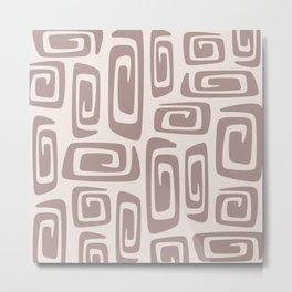 Mid Century Modern Cosmic Abstract 613 Beige Metal Print