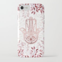 Modern burgundy faux rose gold Hamsa Hand of Fatima floral iPhone Case