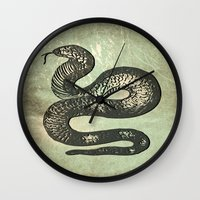 snake Wall Clocks featuring Snake by LoRo  Art & Pictures