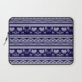 White and Navy Blue Elephant Pattern Laptop Sleeve