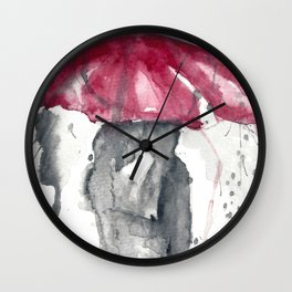 Romantic Rainy Couple Wall Clock