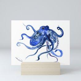 Octopus Design Blue Navy Blue Beach, cute ocotpus texture art Mini Art Print