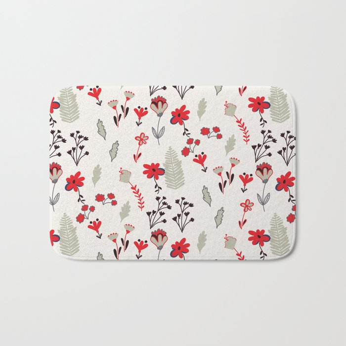 Red Vintage Floral Pattern Bath Mat