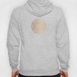 Gold Mandala Pattern Illustration With White Shimmer Hoody