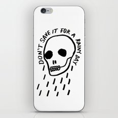 ink black and white skull illustration typography iPhone & iPod Skin