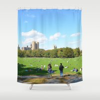 central park Shower Curtains featuring central park  by MF photo works