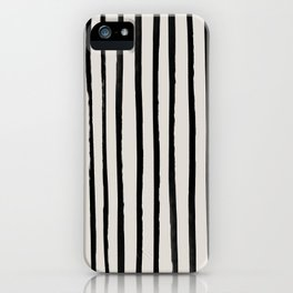 Vertical Black and White Watercolor Stripes iPhone Case