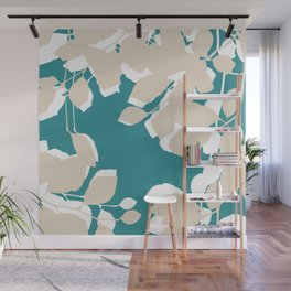 leves teal and tan Wall Mural