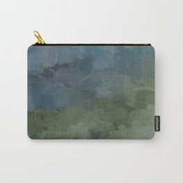 Gray Blue Navy Indigo Sage Leafy Green Sky Forest Abstract Painting, Modern Wall Art, Portrait Carry-All Pouch