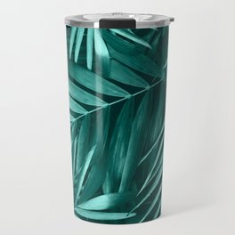 Palm Leaves Pattern, Green Floral Design Travel Mug