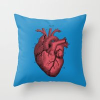 anatomical heart Throw Pillows featuring Vintage Anatomical Heart Illustration by Digital Crafts