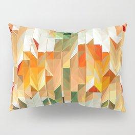 Geometric Tiled Orange Green Abstract Design Pillow Sham