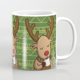 Christmas Deer Enjoying with Coffee Coffee Mug