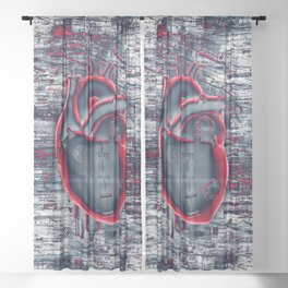 Gamer Heart BLUE CRIMSON / 3D render of mechanical heart Sheer Curtain
