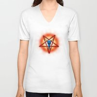pentagram V-neck T-shirts featuring NATIVE PENTAGRAM - 018 by Lazy Bones Studios