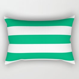 GO green - solid color - white stripes pattern Rectangular Pillow