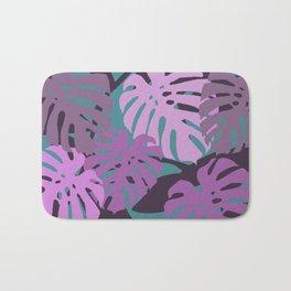 Big Monstera leaves violet turquoise Bath Mat