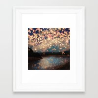 hand Framed Art Prints featuring Love Wish Lanterns by Paula Belle Flores