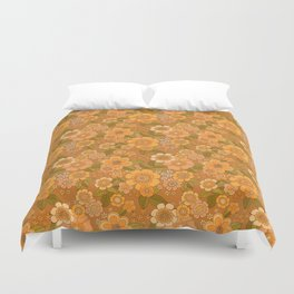 Flower power soft Apricot Duvet Cover