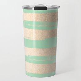Painted Stripes Gold Tropical Ocean Green Travel Mug