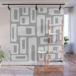 Retro Mid Century Modern Abstract Pattern 335 Gray Wall Mural