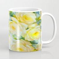 shabby chic Mugs featuring Shabby Chic Yellow by Jacqueline Maldonado