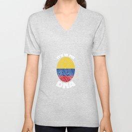Colombia flag Colombian DNA Unisex V-Neck