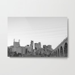 Minneapolis Skyline Black and White Metal Print