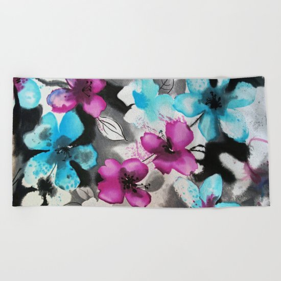 Watercolor flowers Beach Towel