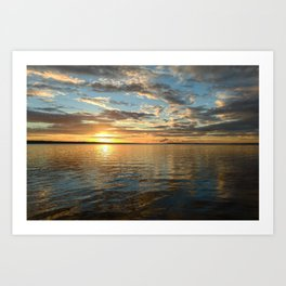 Shadow and sunlight of sunset on the water Art Print