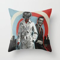superheroes Throw Pillows featuring Superheroes SF by Troy DeRose