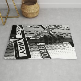 New York Poster New York City Wall Art Decor Street Signs United States Black And White Photography Rug