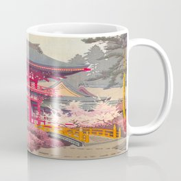 Japanese Woodblock Print Vintage Bright East Asian Red Pagoda Spring Garden Coffee Mug