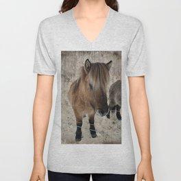 snowy Icelandic horse Unisex V-Neck
