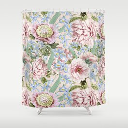 Vintage & Shabby Chic Floral Peony and Iris Flowers Watercolor Pattern Shower Curtain