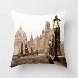 Charles Bridge in medieval city of Prague- Czech Republic. Throw Pillow