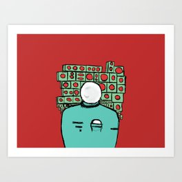 Spaceman and Speakers/Red Art Print