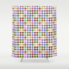 Houndstooth Patchwork of Plaid and Gingham Pattern Shower Curtain
