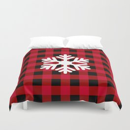 Red Buffalo Check - snowflake - more colors Duvet Cover